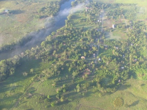 An aerial view of the little village of Santa Rosita, in the Petén region of Guatemala